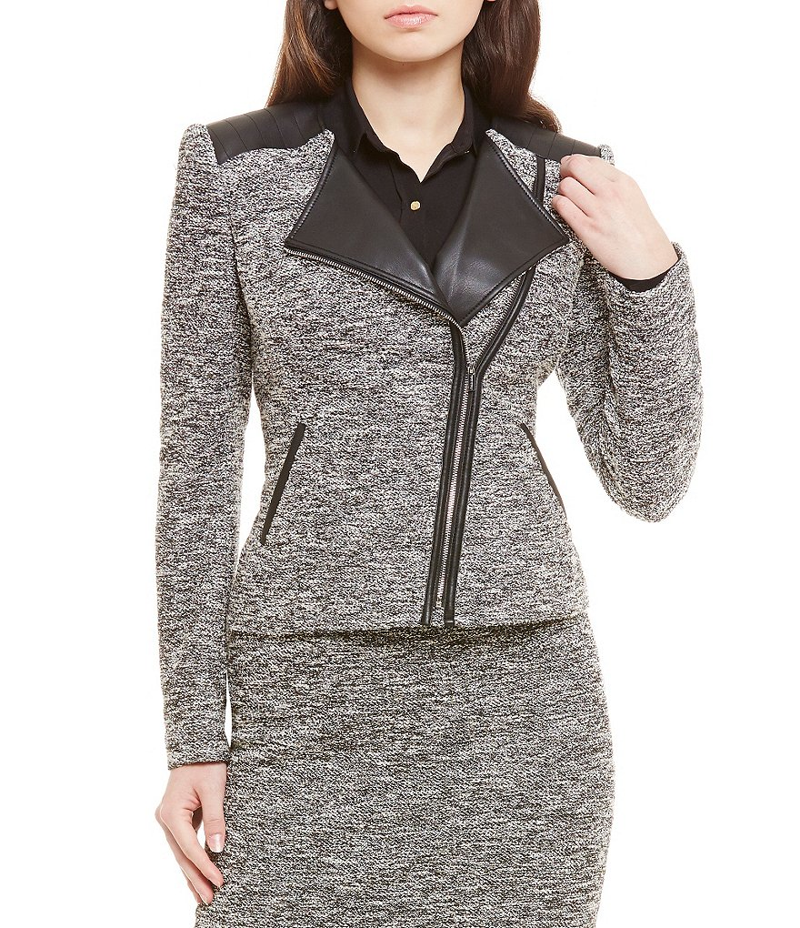 Calvin Klein Faux Leather Trim Tweed Wing Collar Jacket