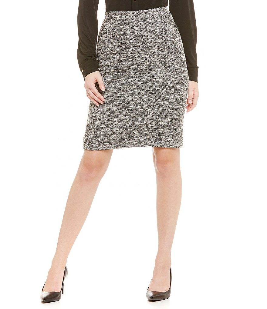 Calvin Klein Tweed Straight Hem Pencil Skirt