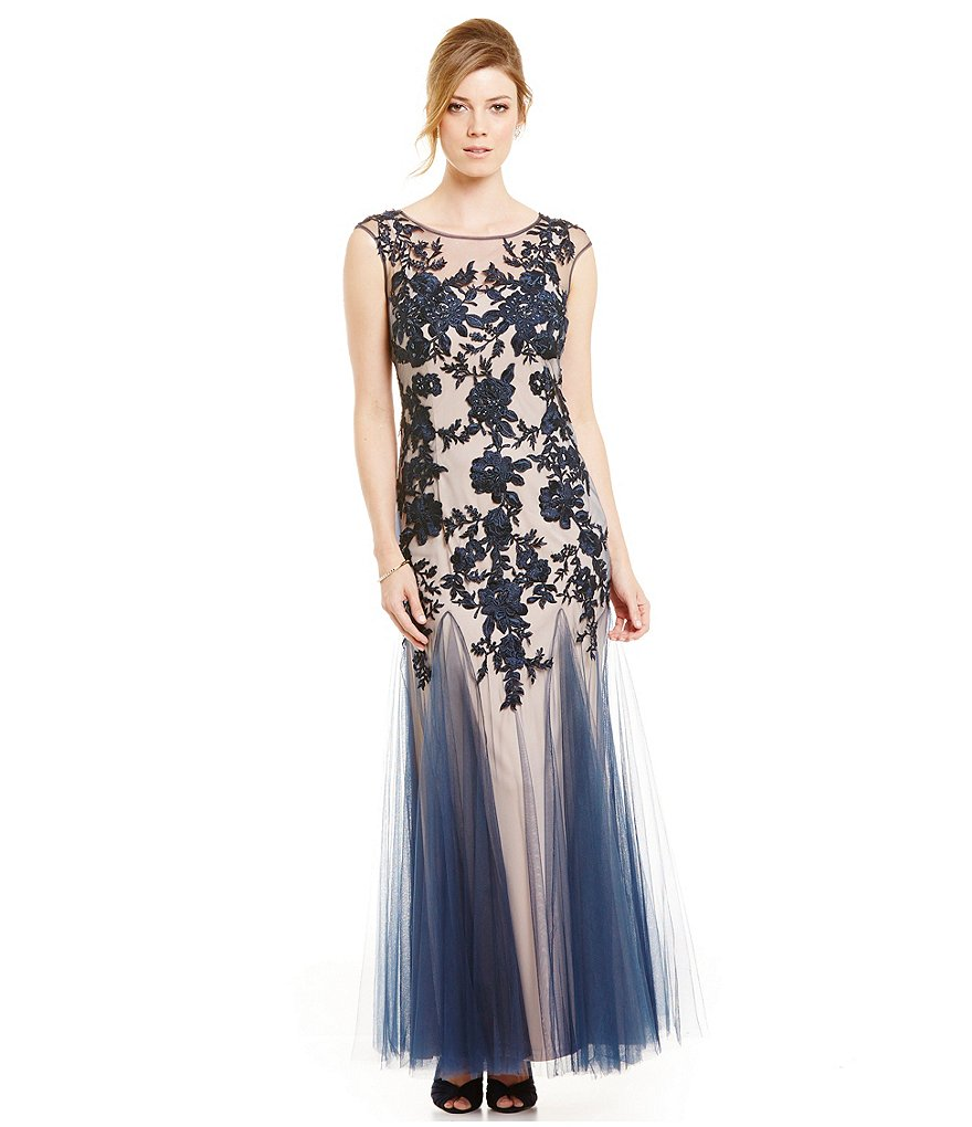 Emma Street Illusion Applique Mesh Gown