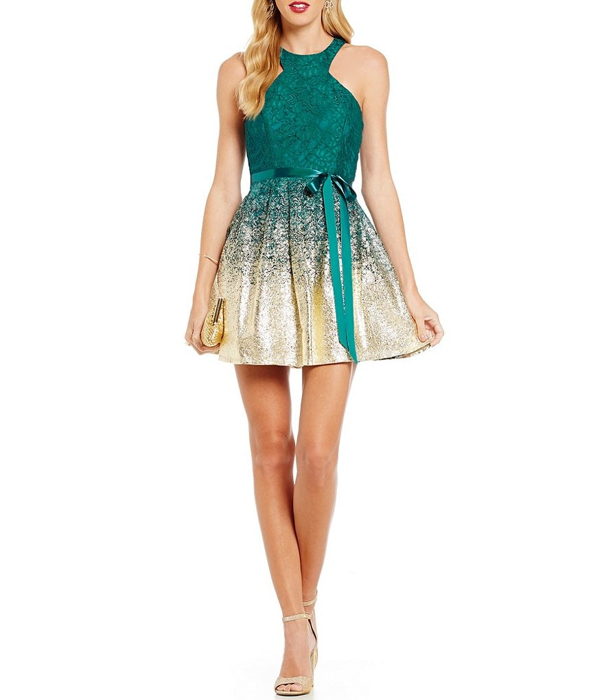B. Darlin High Racer Neckline Lace Foil Dipped Skater Dress