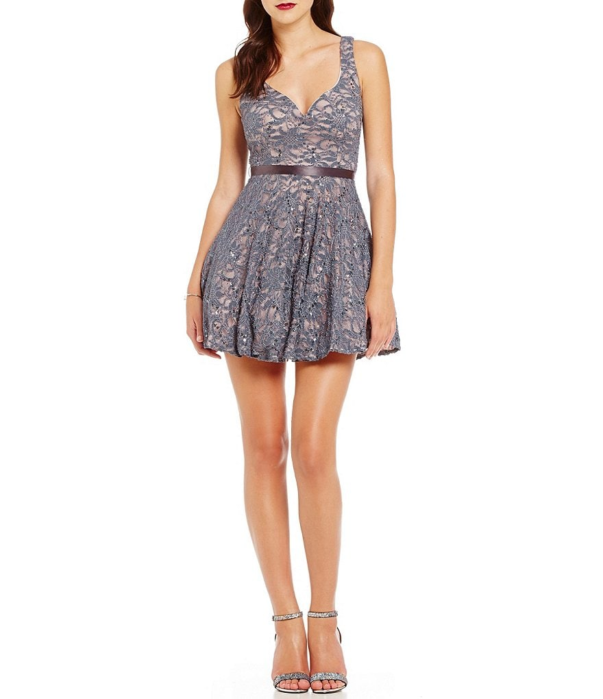 B. Darlin Sequin Lace V-Neck Skater Dress