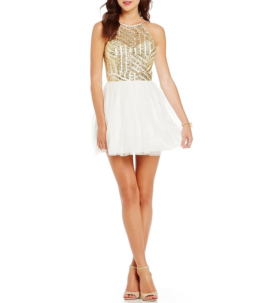 B. Darlin Sequin Pattern Bodice A-Line Party Dress