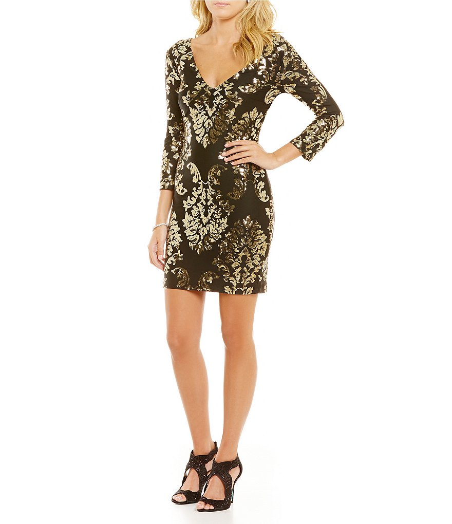 B. Darlin Double V-Neckline Sequin Scroll Pattern Sheath Dress