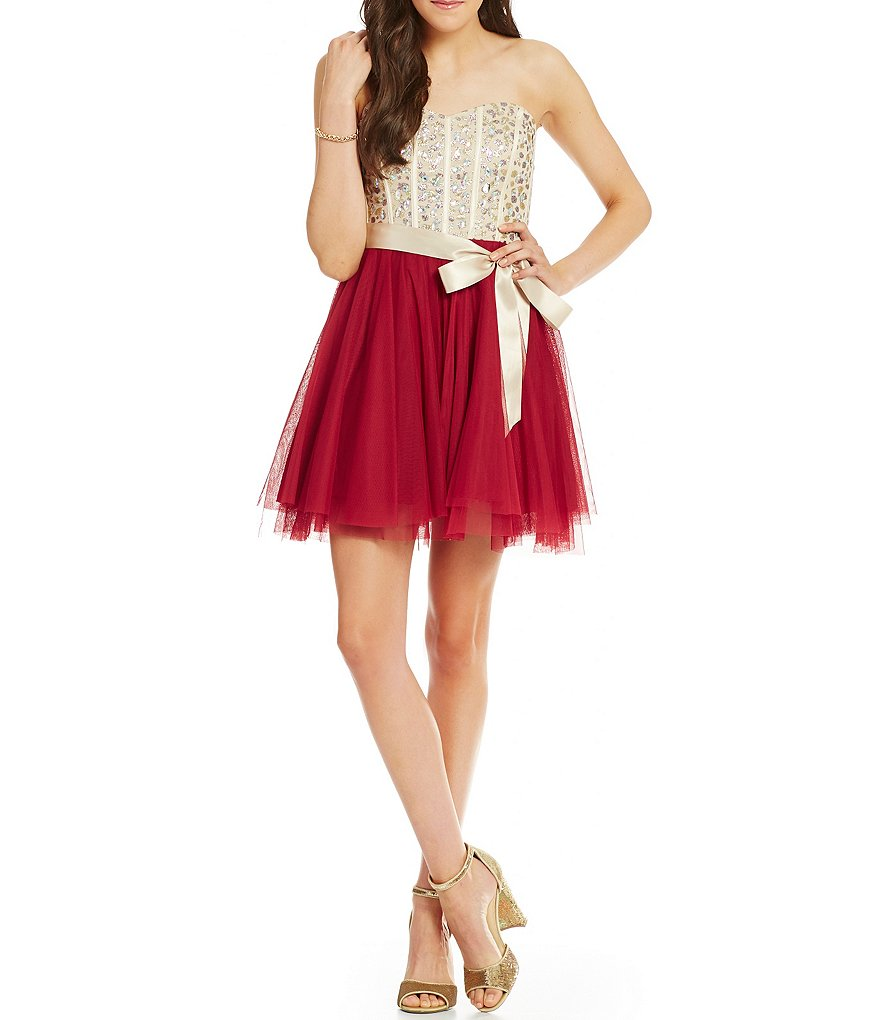 Teeze Me Beaded Corset Color Block Swing Party Dress