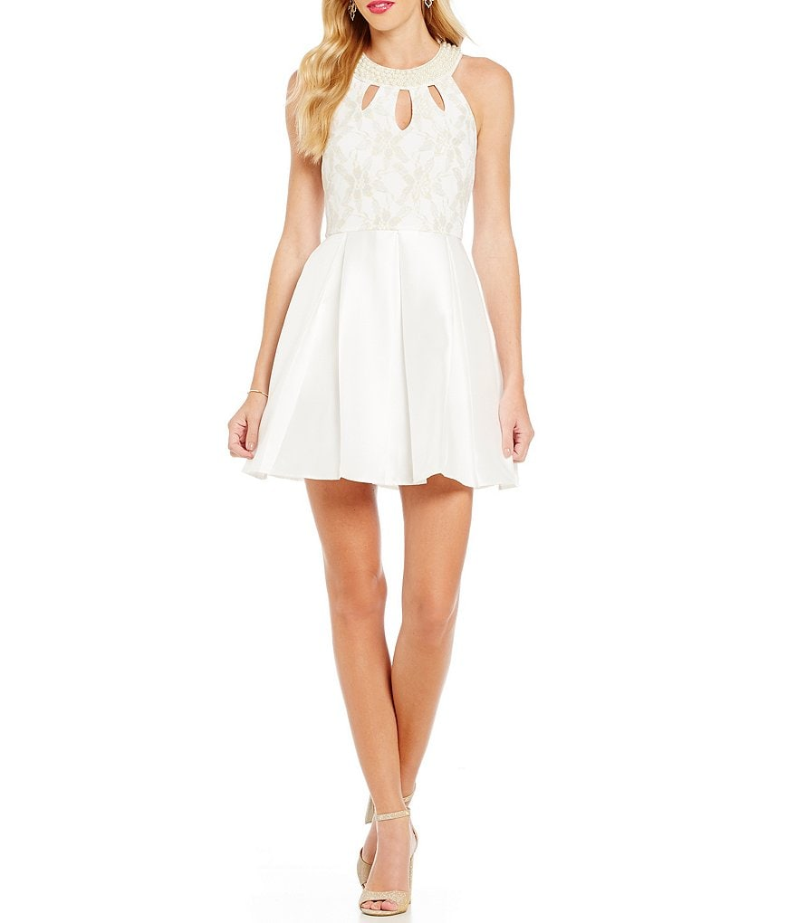 Teeze Me Faux-Pearl Trim Keyhole Neckline Fit-and-Flare Party Dress