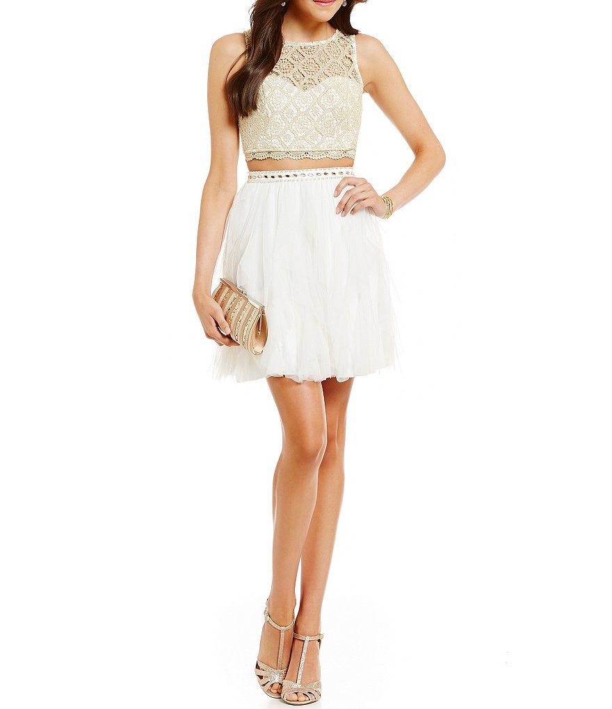 Sequin Hearts Metallic Lace Two-Piece Party Dress