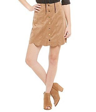 Chelsea & Theodore Button-Front Faux-Suede Scalloped Hem Skirt