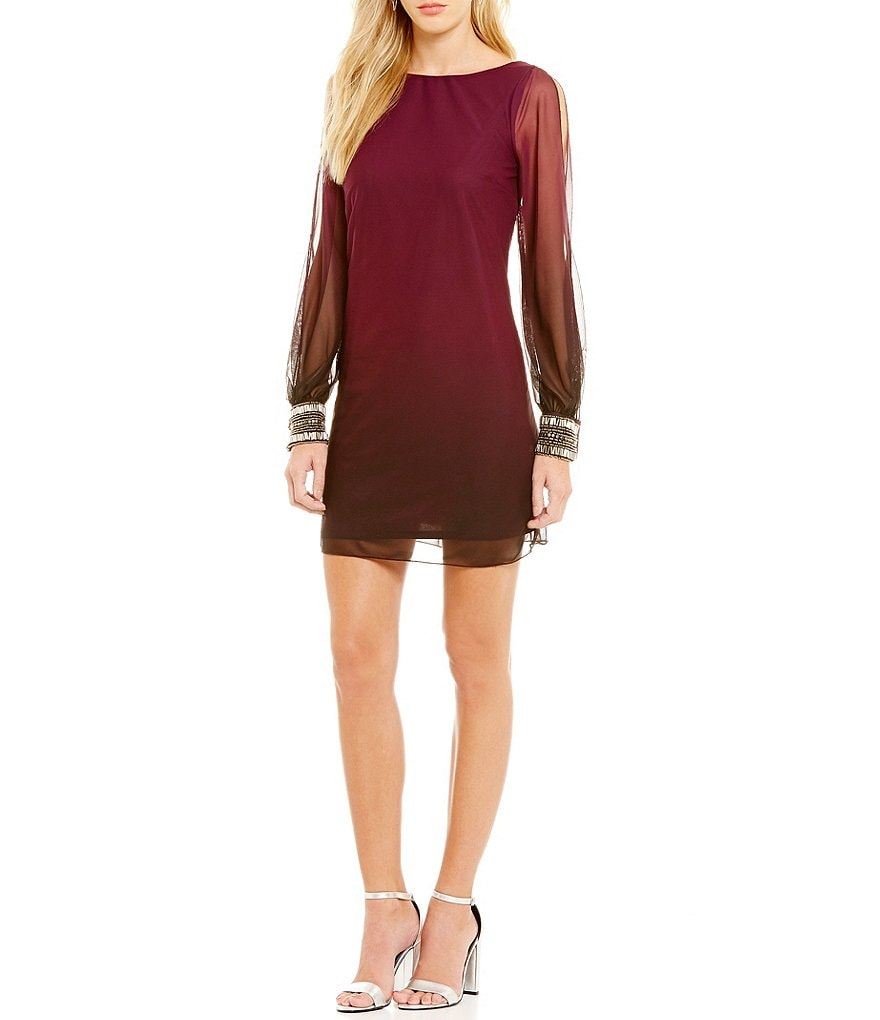 I.N. San Francisco Ombre Split Sleeve Beaded-Cuff Shift Dress