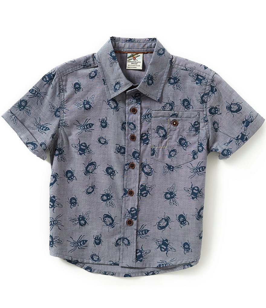 Class Club Little Boys 2T-7 Bug Printed Short-Sleeve Woven Shirt