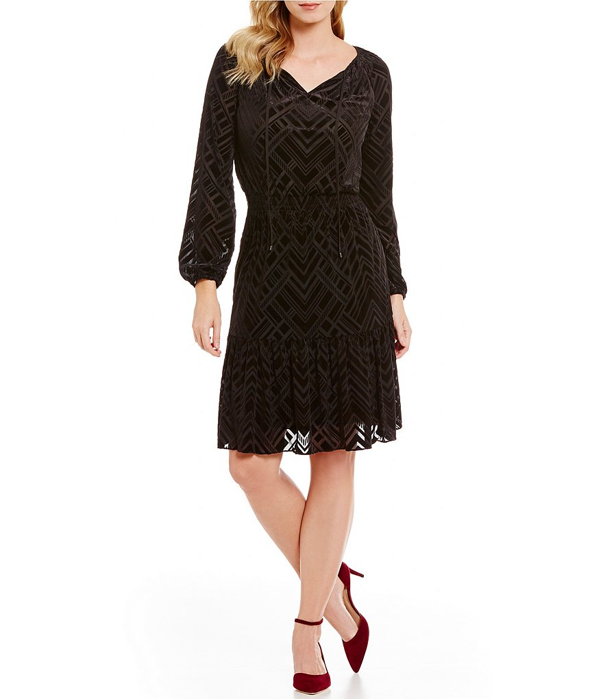 Jones New York Burnout Velvet Long Sleeve Smocked Peasant Dress
