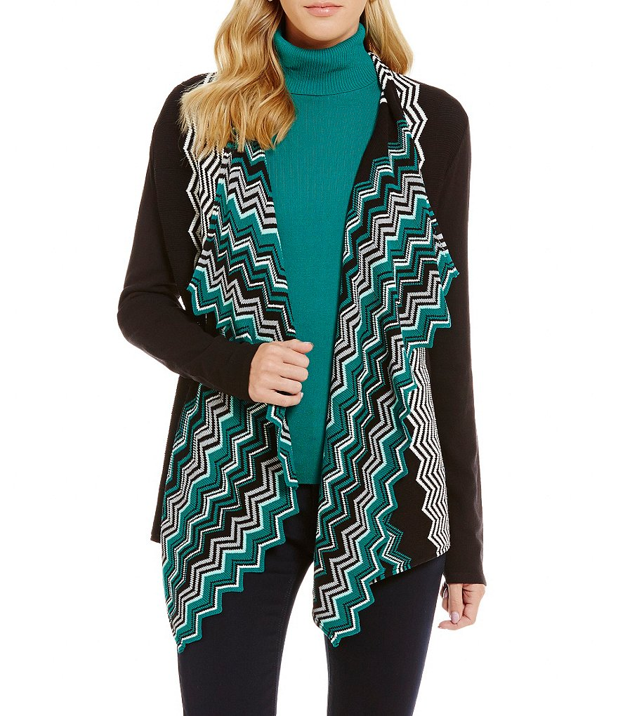 Jones New York Chevron Stripe Open Front Cardigan