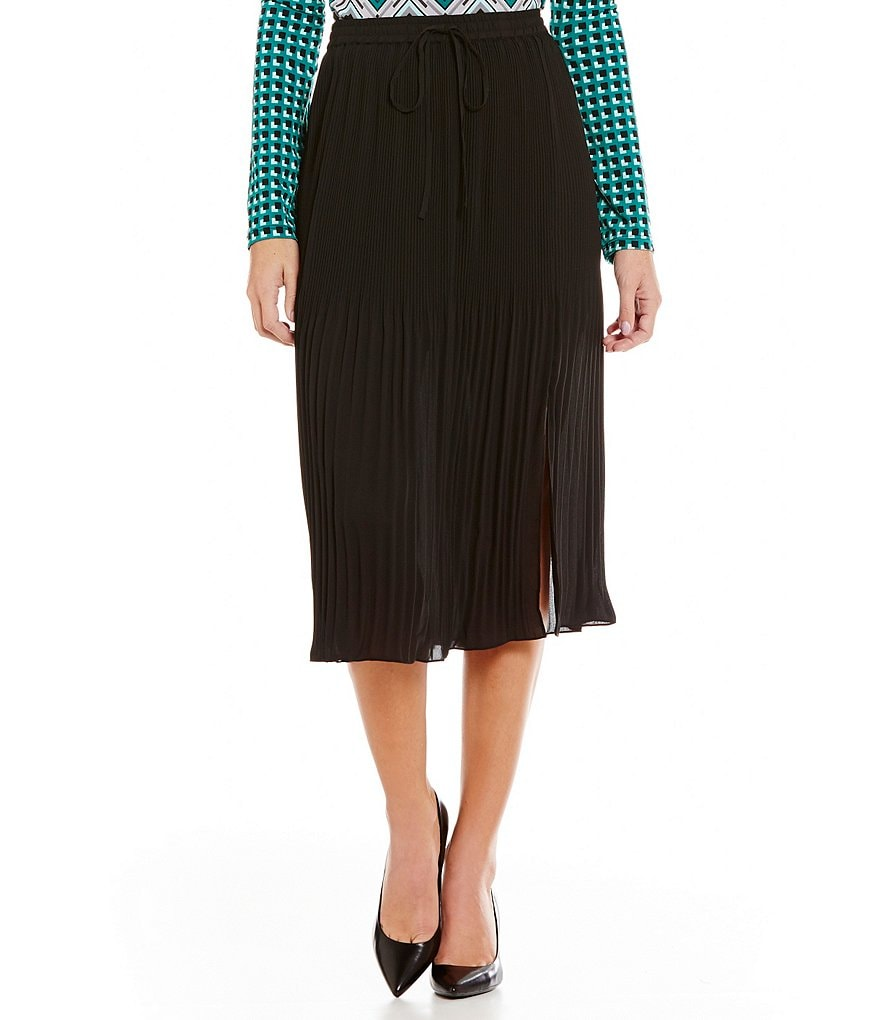 Jones New York Drawstring Waist Pleated Georgette Skirt