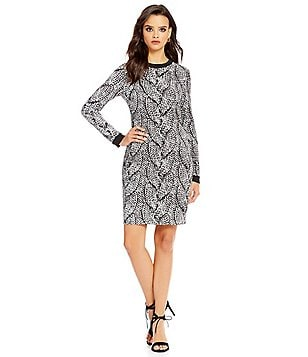 Nicole Miller Artelier Giant Cable Print Double Crepe Dress