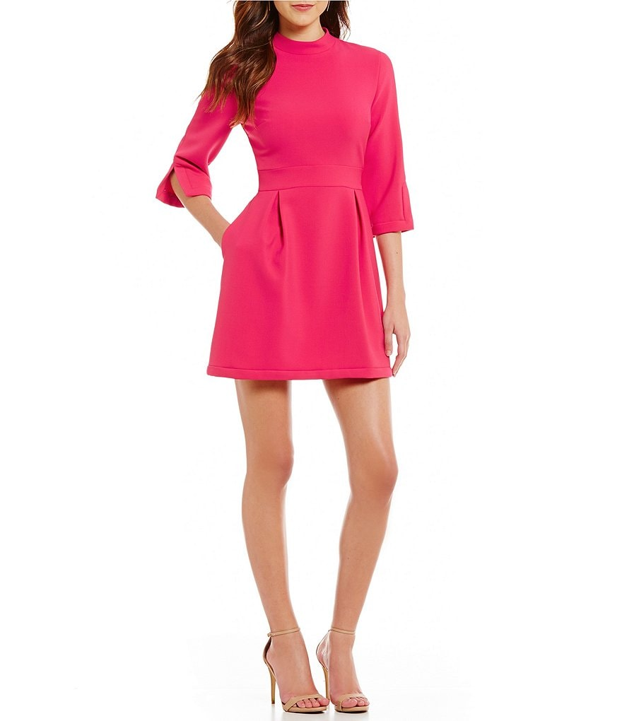 Nicole Miller Artelier Mock Neck Fit-and-Flare 3/4 Sleeve Dress