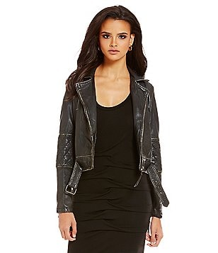 Nicole Miller Artelier Distressed Genuine Leather Moto Jacket