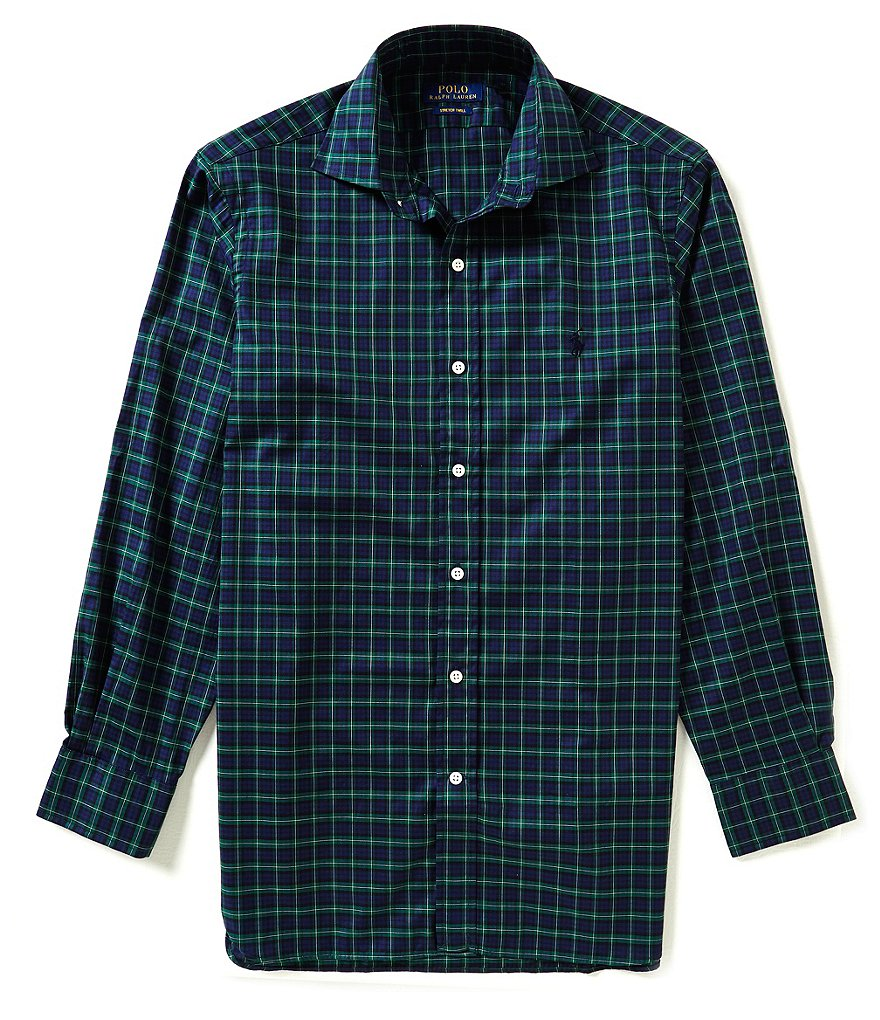 Polo Ralph Lauren Fitted Classic-Fit Spread-Collar Plaid Dress Shirt