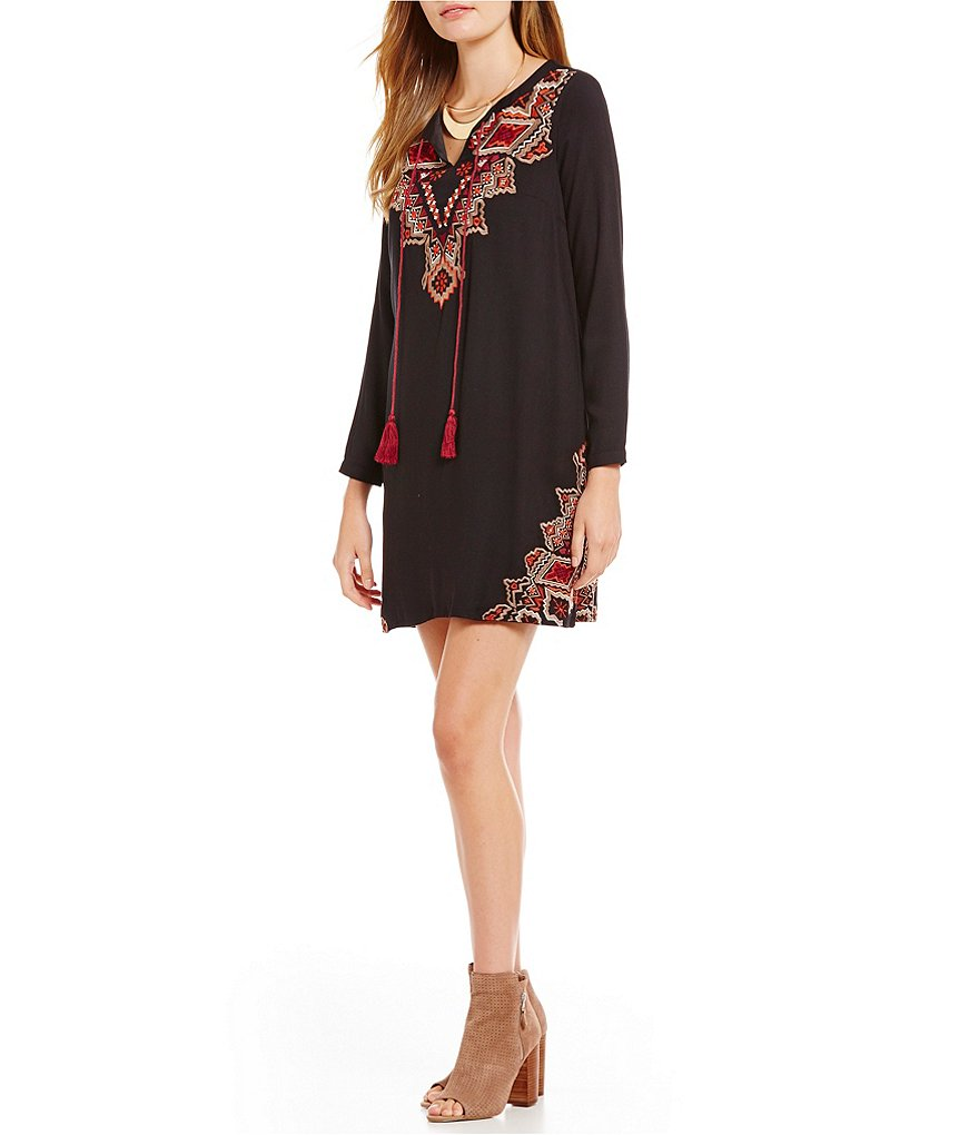 THML Embroidred Long Sleeve Tassel Front Peasant Dress