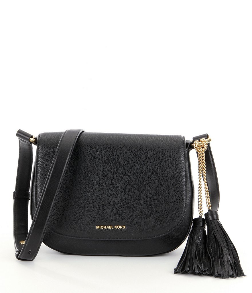 MICHAEL Michael Kors Elyse Leather Tassel Large Saddle Bag