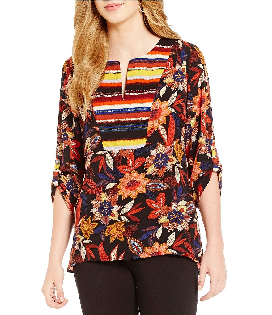Figueroa & Flower Devon Floral & Stripe Print V-Neck Tab Sleeve Top