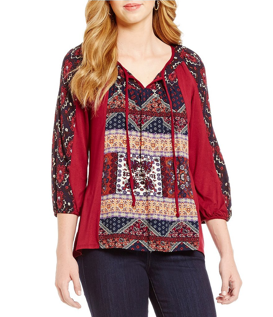 Figueroa & Flower Geraldine Tie-Neck 3/4 Sleeve Printed Top