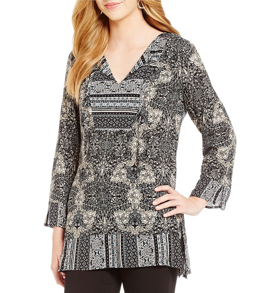 Figueroa & Flower Toni Long Sleeve Printed Top