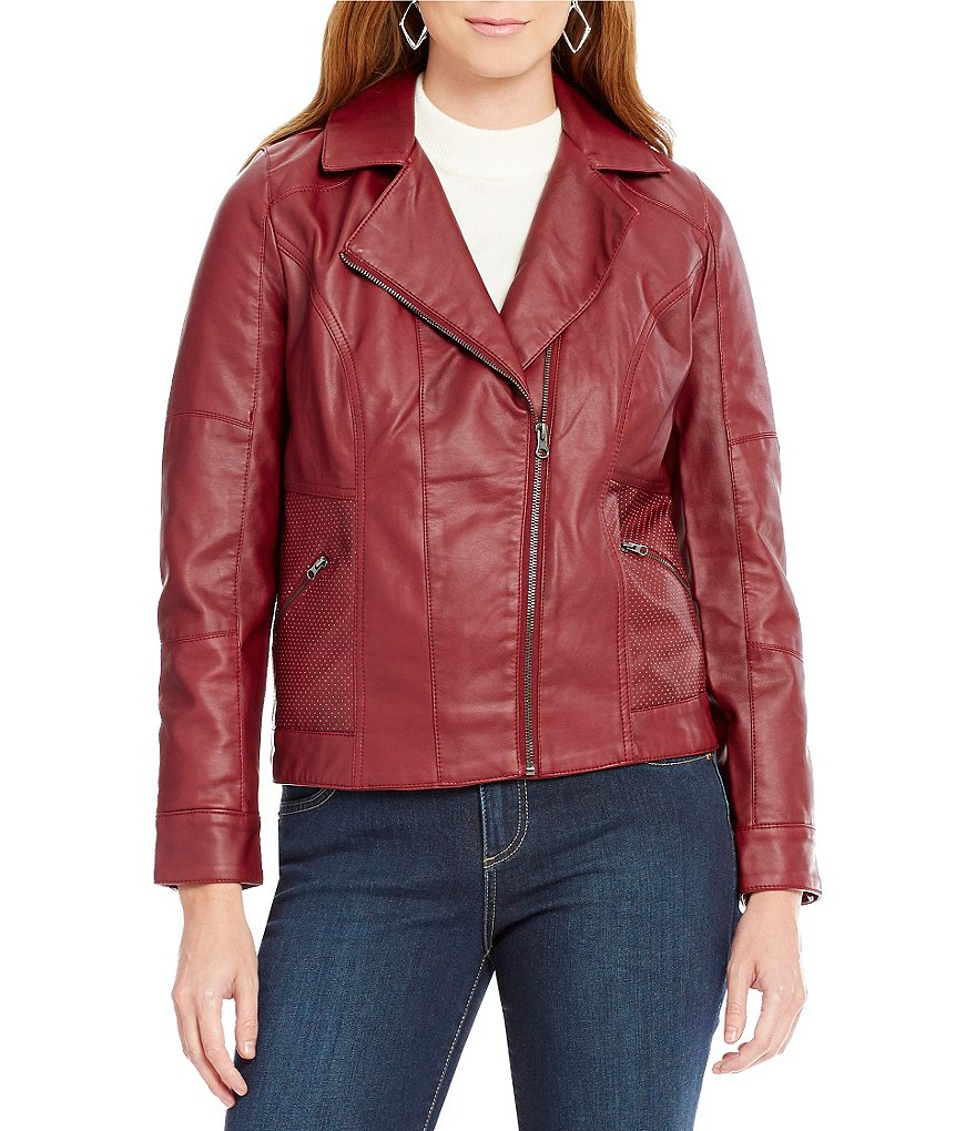 One World Apparel Asymmetrical Zip Faux-Leather Jacket