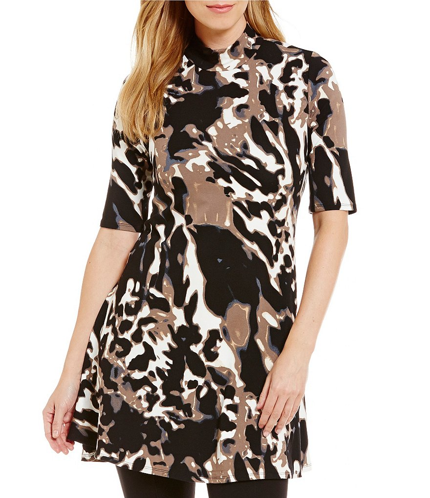 Chelsea & Theodore Printed Swing Mockneck Tunic