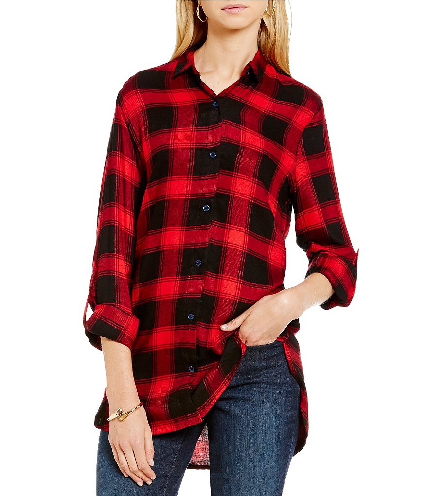 Chelsea & Theodore Plaid Button Up Blouse