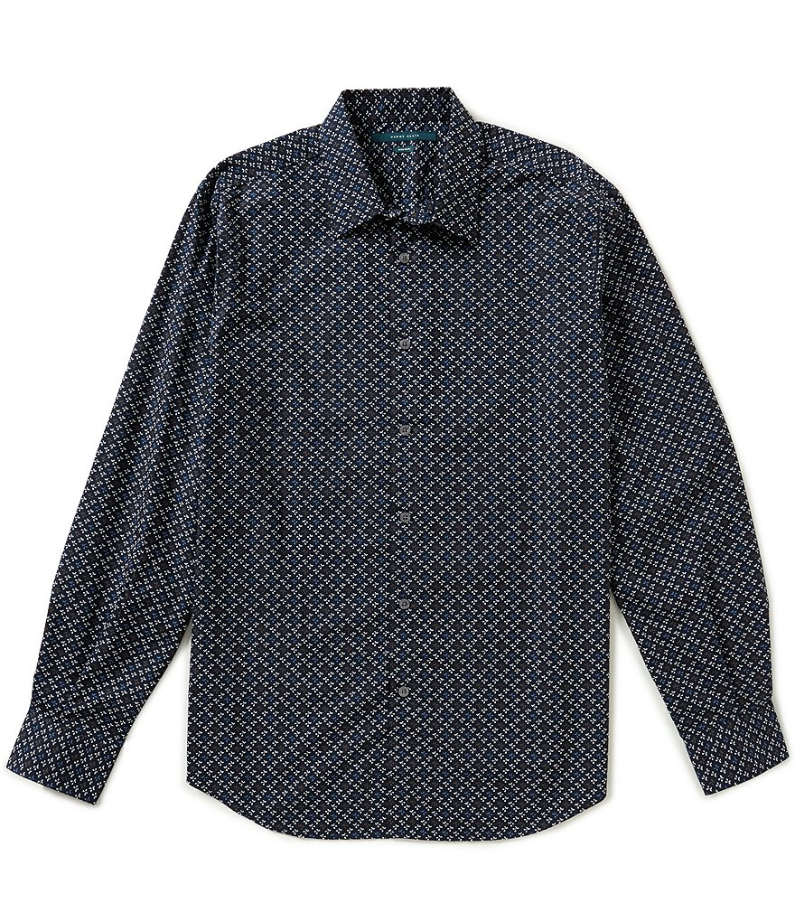 Perry Ellis Non-Iron Long-Sleeve Repeating Floral Print Woven Shirt