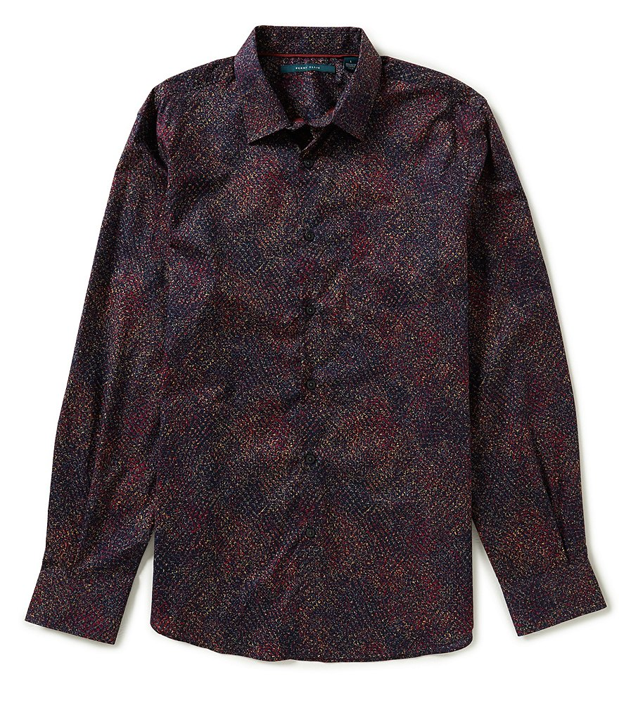 Perry Ellis Long-Sleeve Printed Woven Shirt