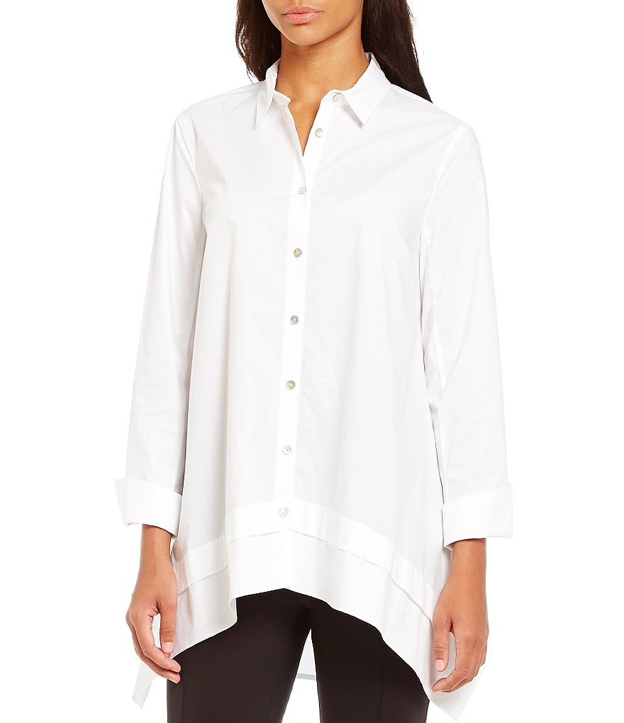 John Mark Button Front Swing Long Sleeve Blouse