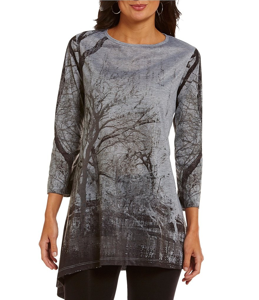 John Mark Scenic Printed Asymmetrical Tunic