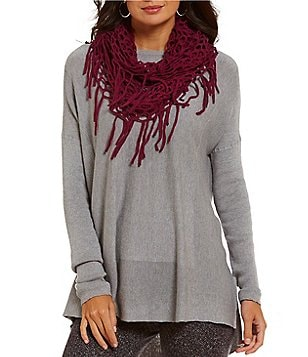 John Mark Crew Neck Long Sleeve with Detachable Fringe Scarf Sweater