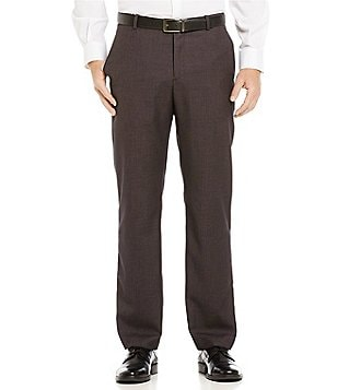 Perry Ellis Regular-Fit Flat-Front Micro-Check Pants