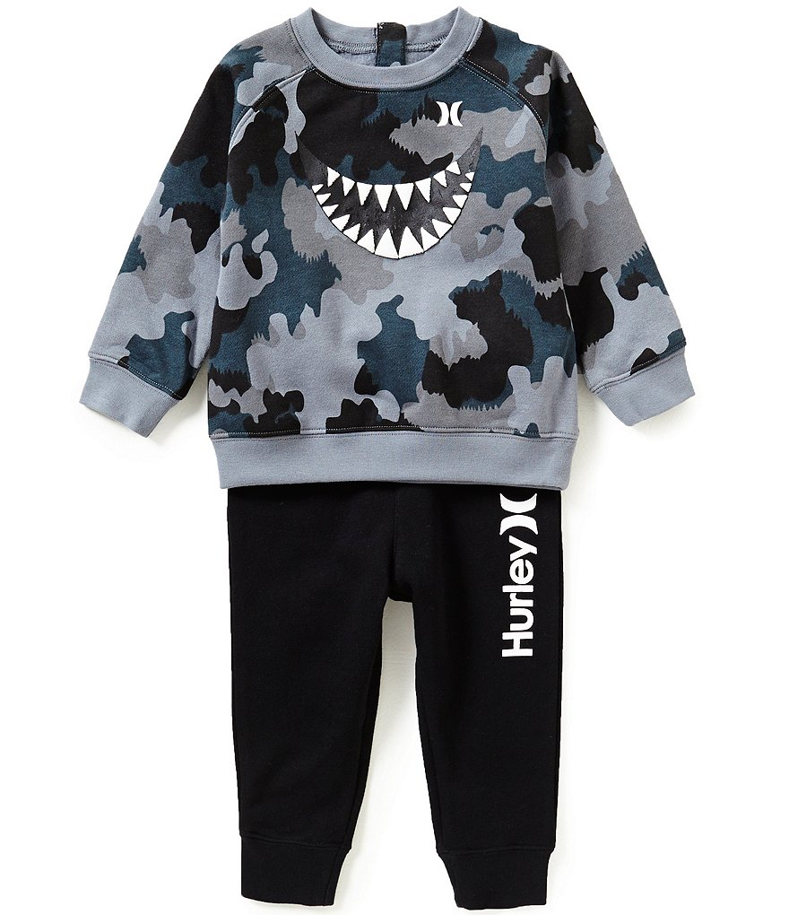 Hurley Baby Boys 12-24 Months Sharkbait Camouflage-Printed Fleece Tee & Solid Pant Set