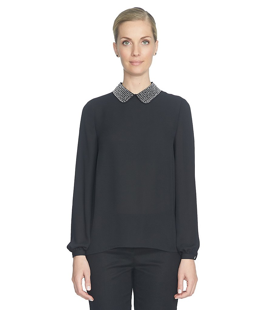 CeCe Long Sleeeve Pearl Encrusted Collared Blouse