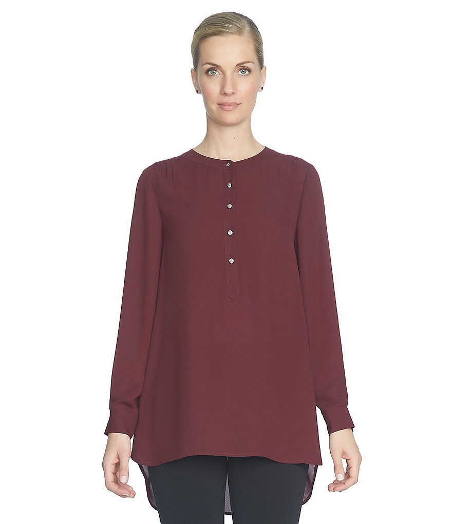 CeCe Henley Button Front Crepe Tunic