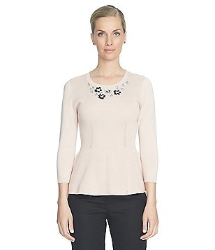 CeCe Embellished Peplum Sweater