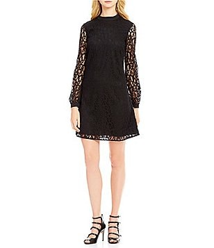 CeCe Mock Neck Scroll Lace Long Sleeve Dress