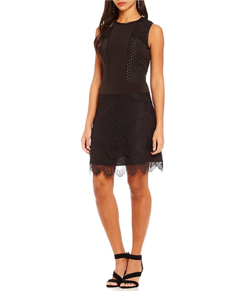 Jones New York Lace Mixed Media Lace Crepe Sheath Dress
