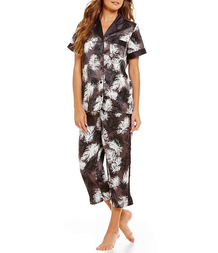 Cabernet Feather-Printed Notch Collar Satin Pajamas