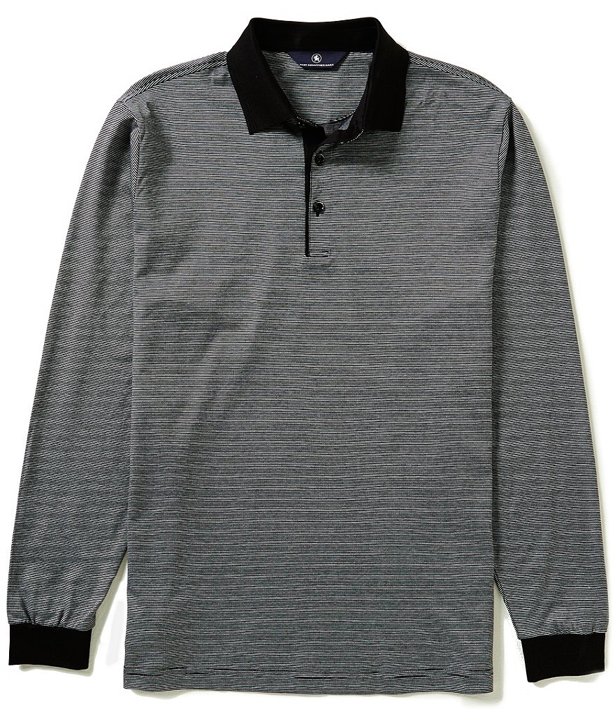 Hart Schaffner Marx End-On-End Horizontal Stripe Long-Sleeve Polo Shirt