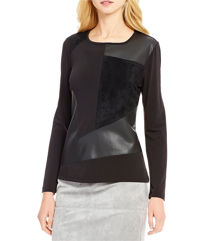 Calvin Klein Faux Leather And Suede Patchwork Knit Top
