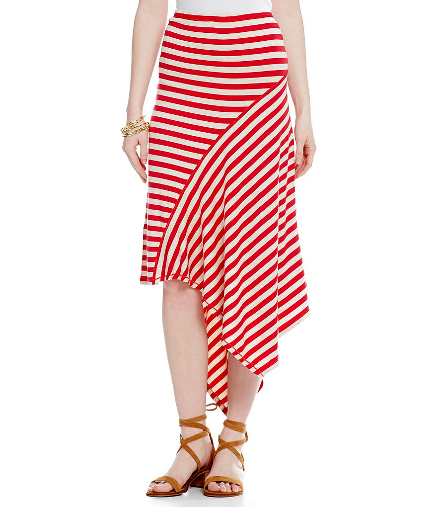 M.S.S.P. Asymmetrical Stripe Jersey Knit Skirt