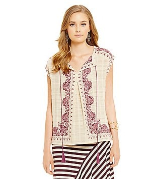 M.S.S.P. Embroidered Gauze Cotton V-Neck with Tassel Cap Sleeve Blouse