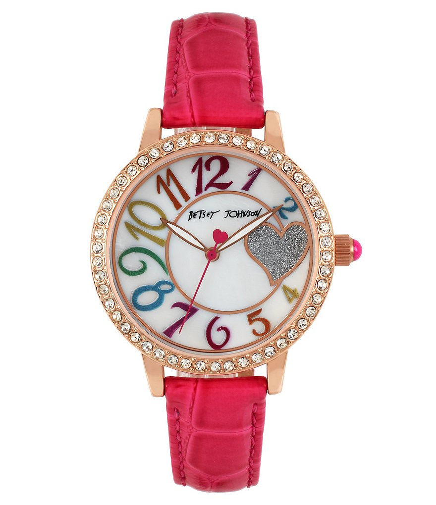 Betsey Johnson Crocodile Embossed Faux Leather Crystal Watch
