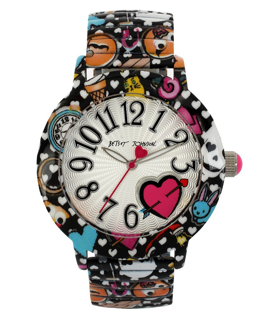 Betsey Johnson Emoji Print Expansion Band Bracelet Watch