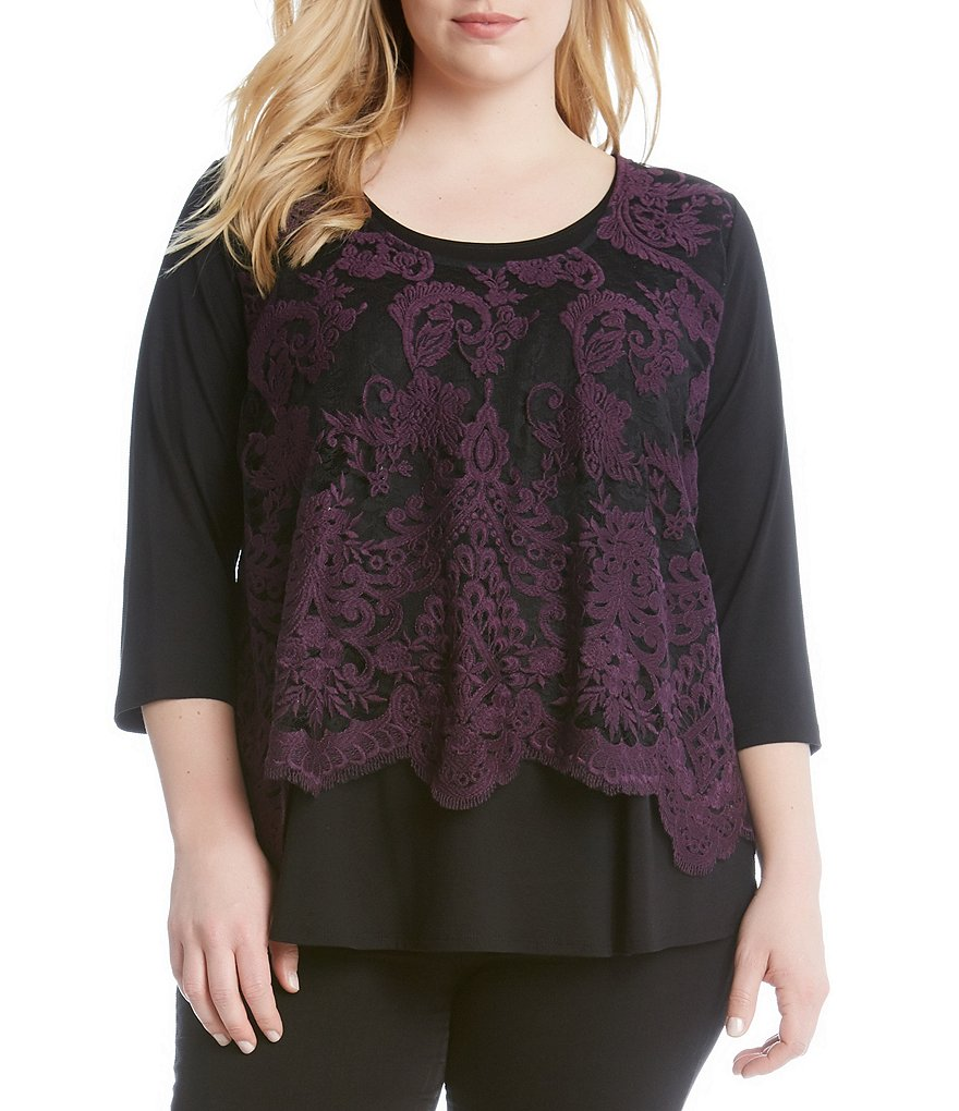 Karen Kane Plus Lace Overlay 3/4 Sleeve Top