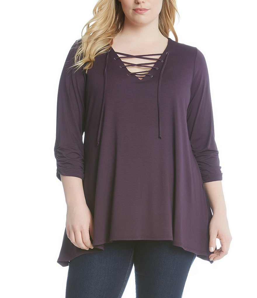 Karen Kane Plus Lace-Up Knit 3/4 Sleeve Top