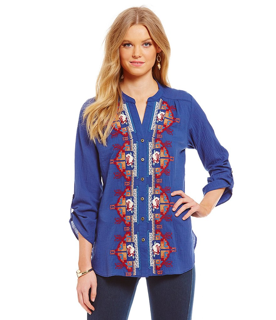 James Bryan Embroidered Roll-Tab Sleeve Tunic